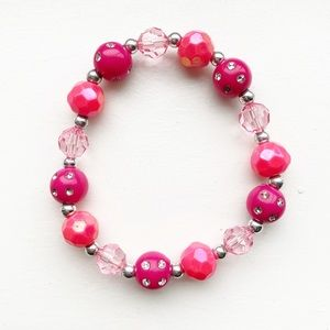 Vintage hot & blush pink beaded stretch bracelet